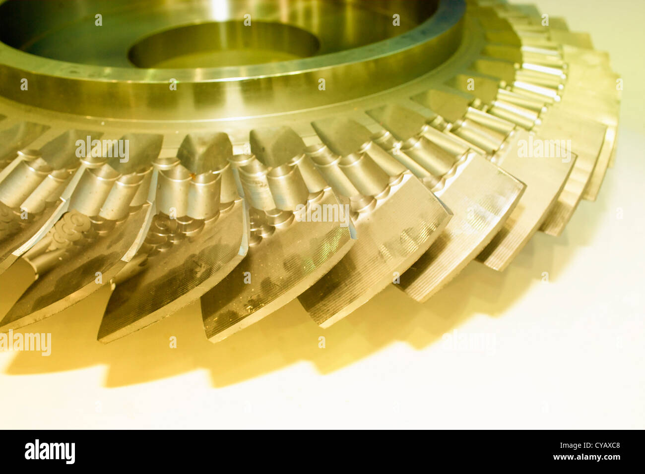 blade of gear with yellow oil - Stock Image