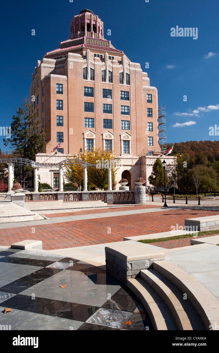 Asheville City Hall - Pack Square - Asheville, North Carolina USA Stock Photo