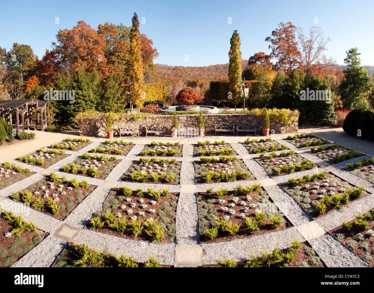 North Carolina Arboretum Quilt Garden (Panoramic Composite Image) - Asheville, North Carolina, USA - Stock Image