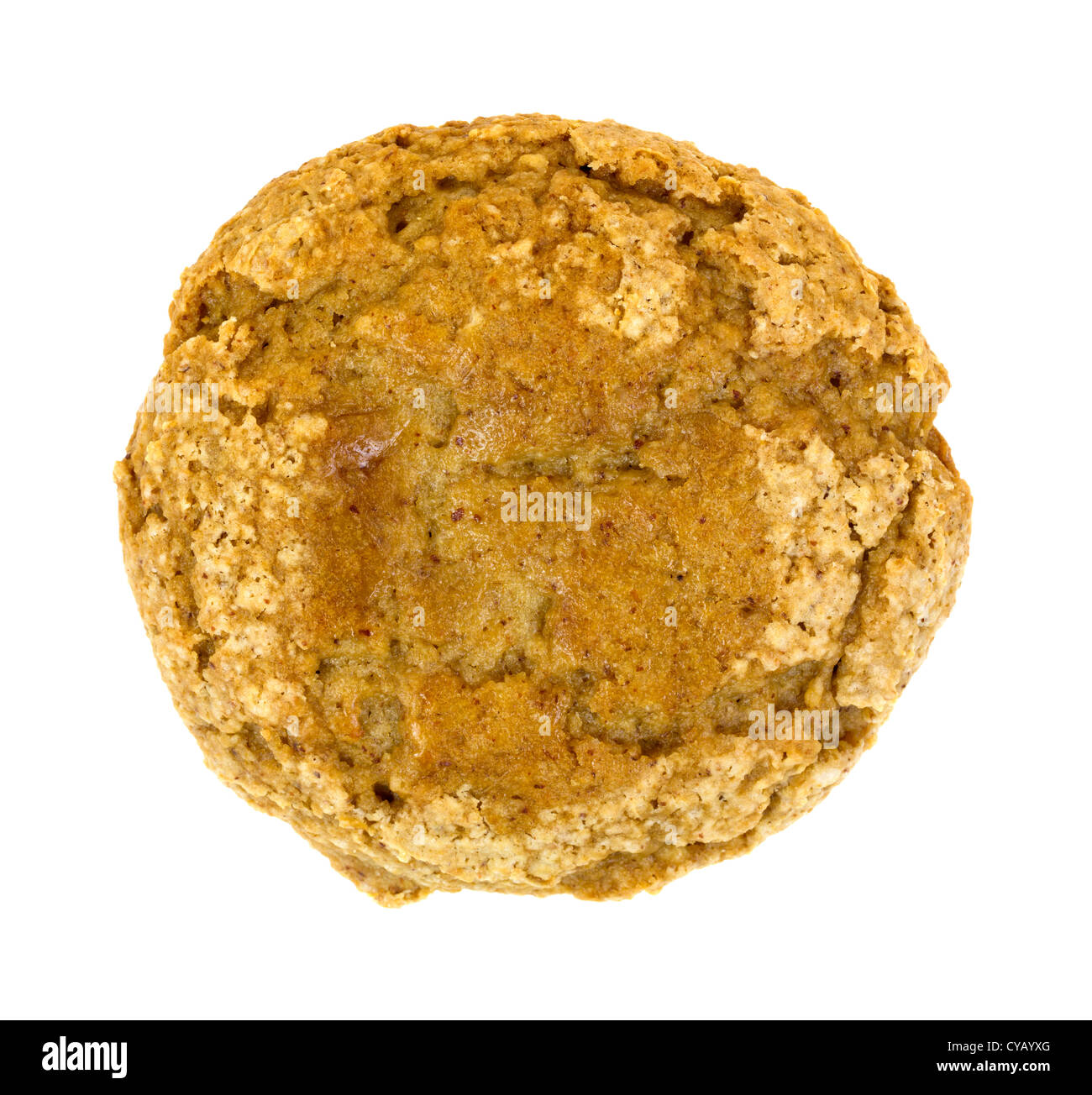 Top view of a home made banana nut muffin on a white background. - Stock Image