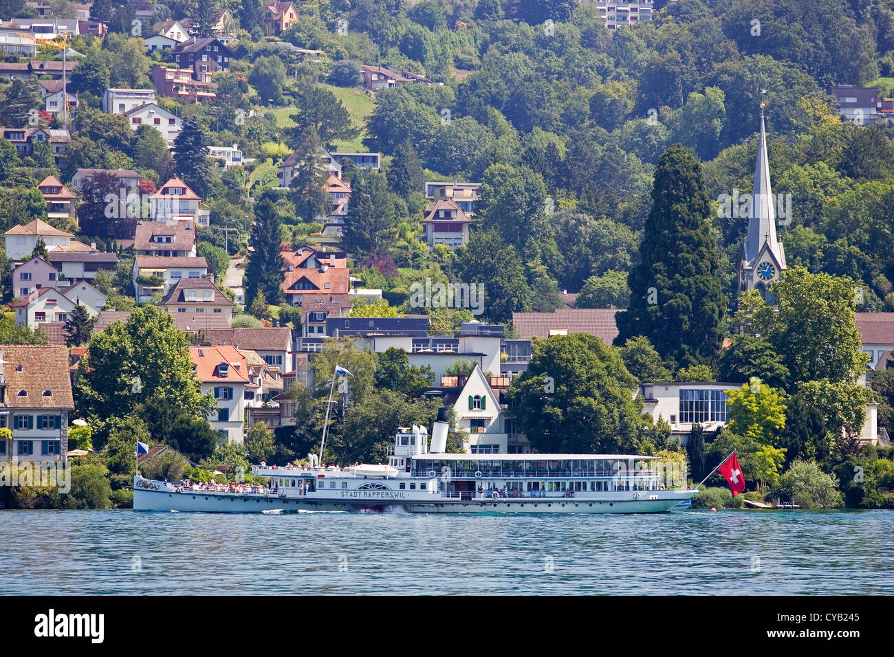europe, switzerland, zurich, lake of zurich, touristic boat - Stock Image