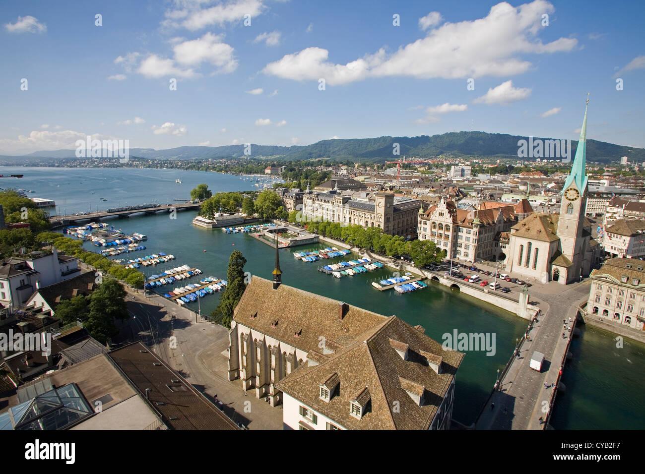 europe, switzerland, zurich, limmat river and lake of zurich - Stock Image