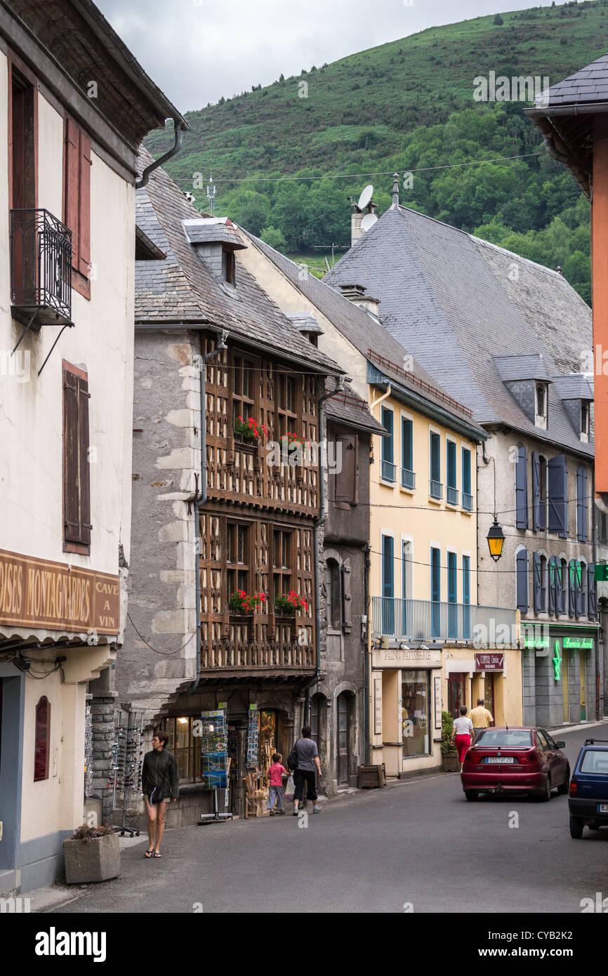 Street of a small town Arreau in Hautes-Pyrénées, France Stock Photo