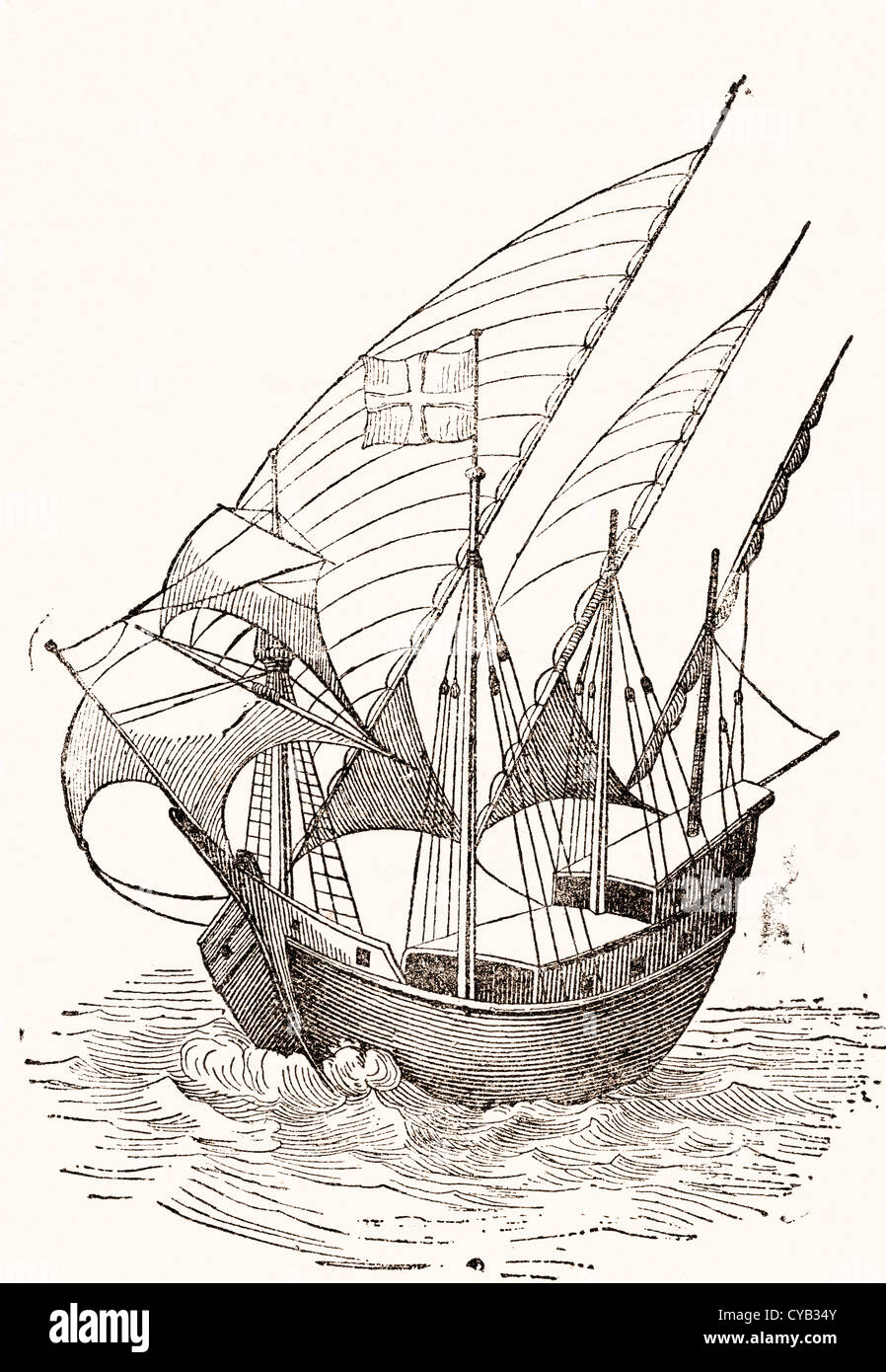 A 15th century Caravel. - Stock Image