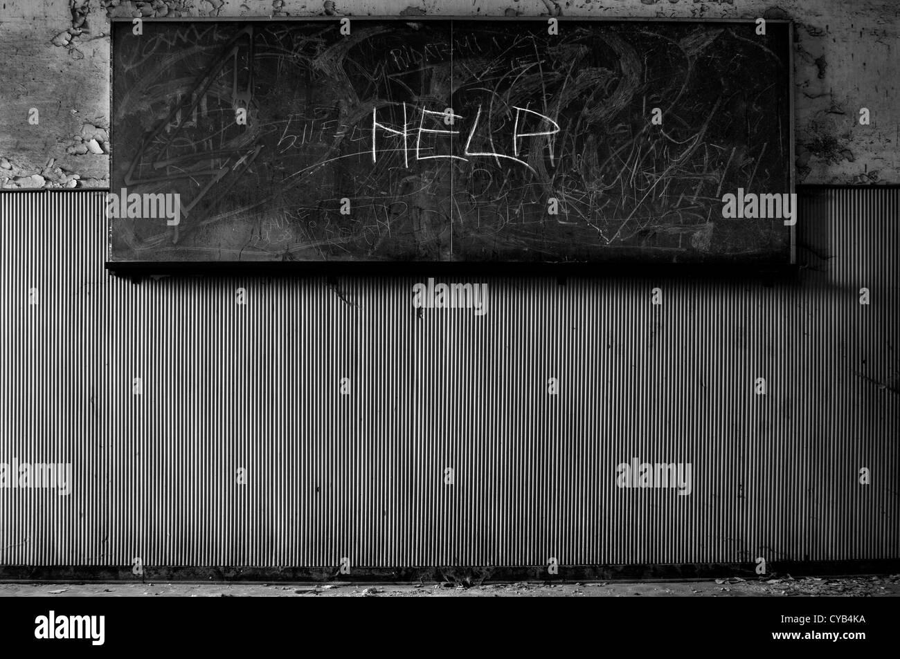 Italy. Ruined blackboard in abandoned school - Stock Image