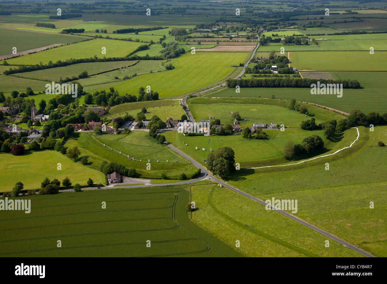 Aerial view of Avebury village and neolithic henge stone circle, Wiltshire, England - Stock Image