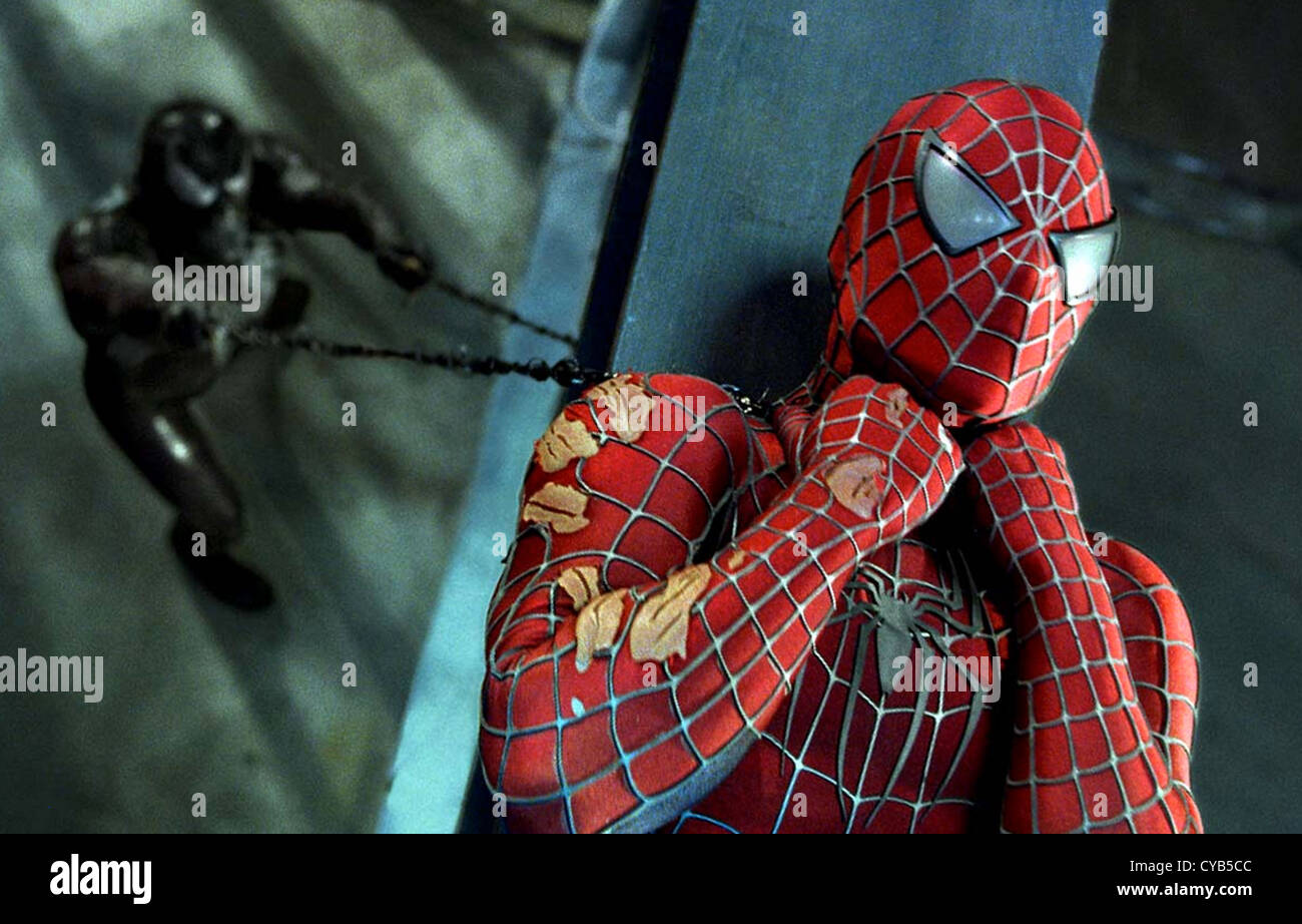 SPIDER-MAN 3    2007 Columbia film with Tobey Maguire as Peter Parker here battling with Topher Grace as Venom - Stock Image
