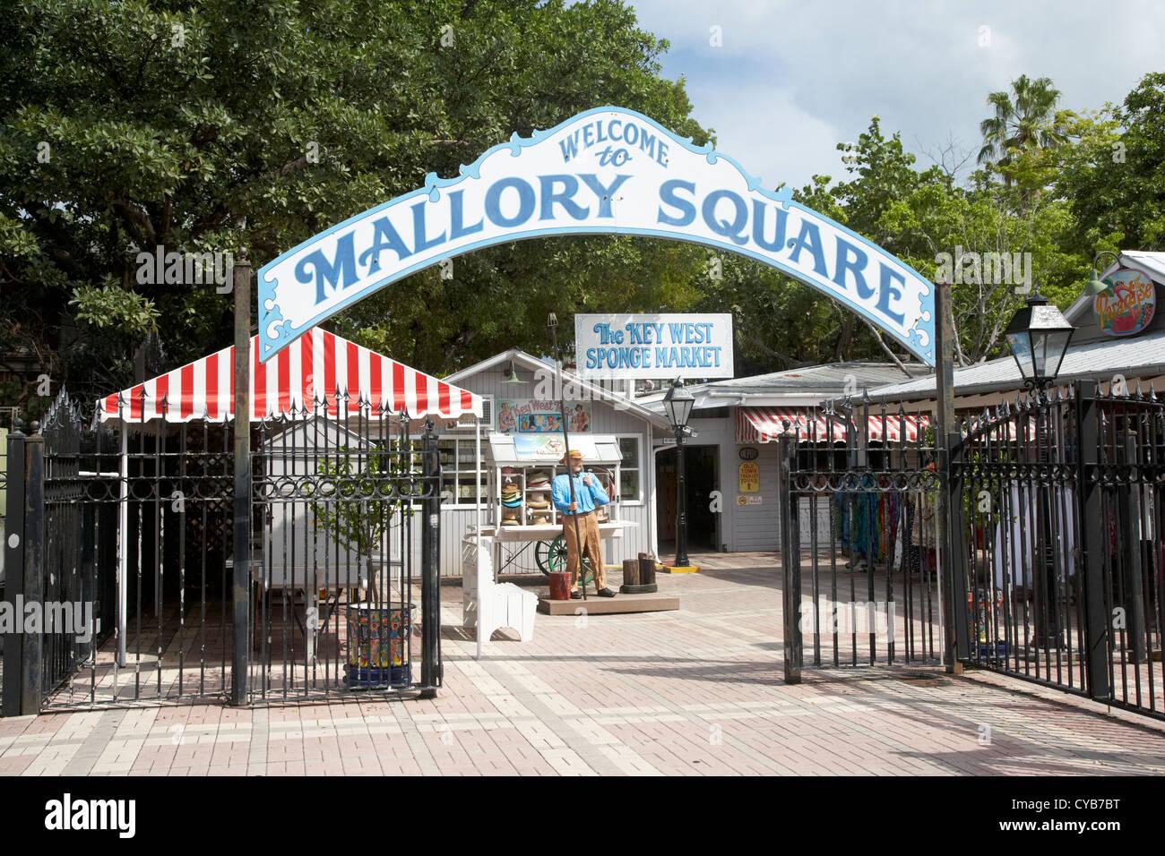mallory square and key west sponge market florida usa - Stock Image