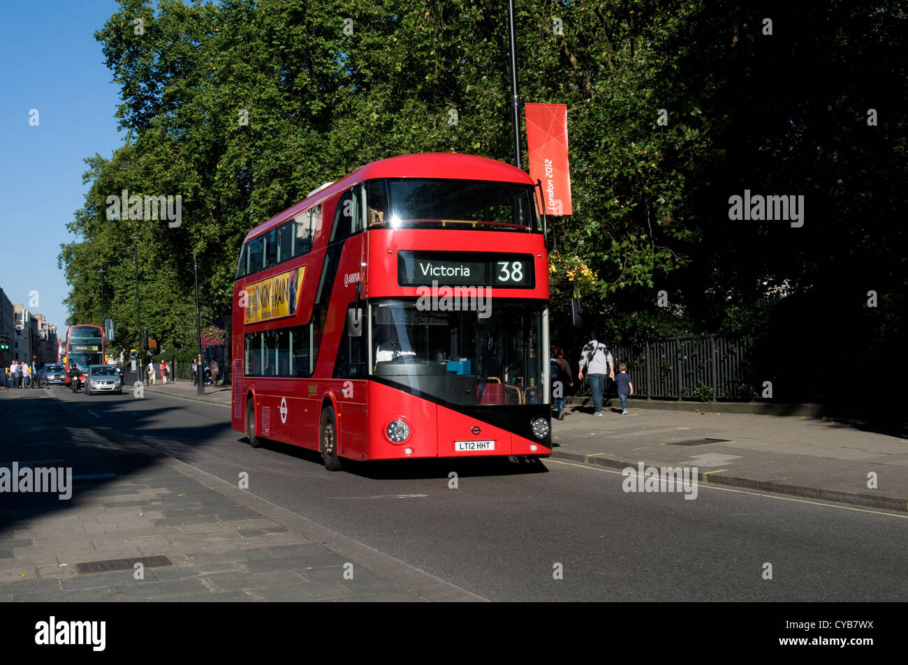 One of the prototype New bus for London travelling along Piccadilly towards Victoria. The buses are built by Wrightbus, - Stock Image