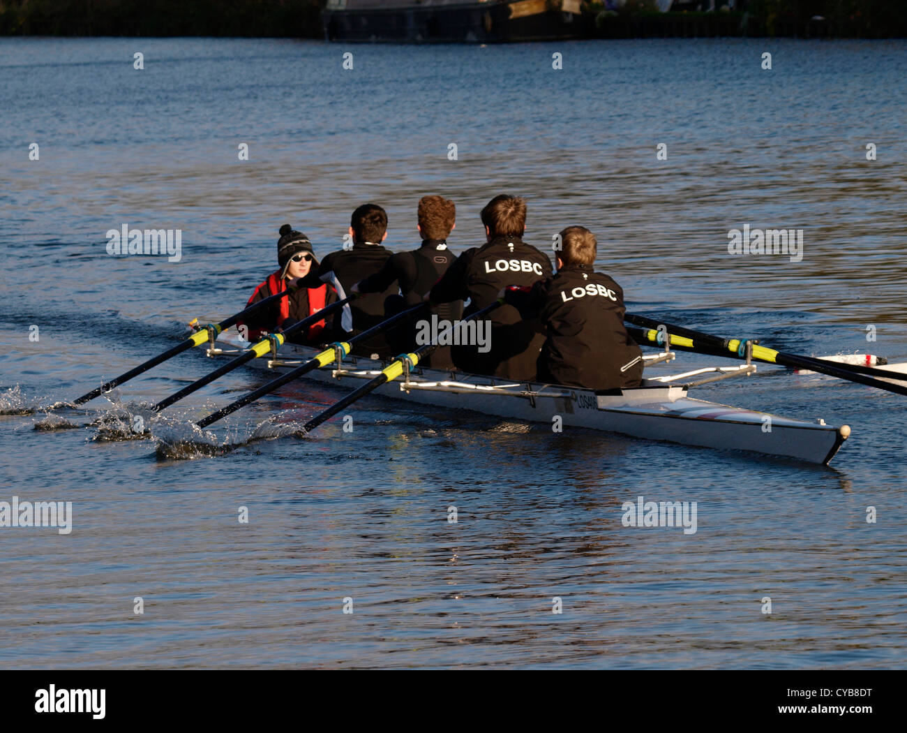 Rowing on the Gloucester and Sharpness Canal, UK - Stock Image