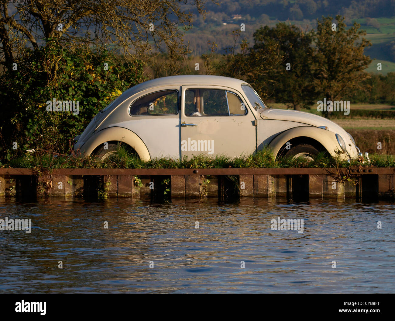 Classic VW Beetle parked next to a canal, UK - Stock Image