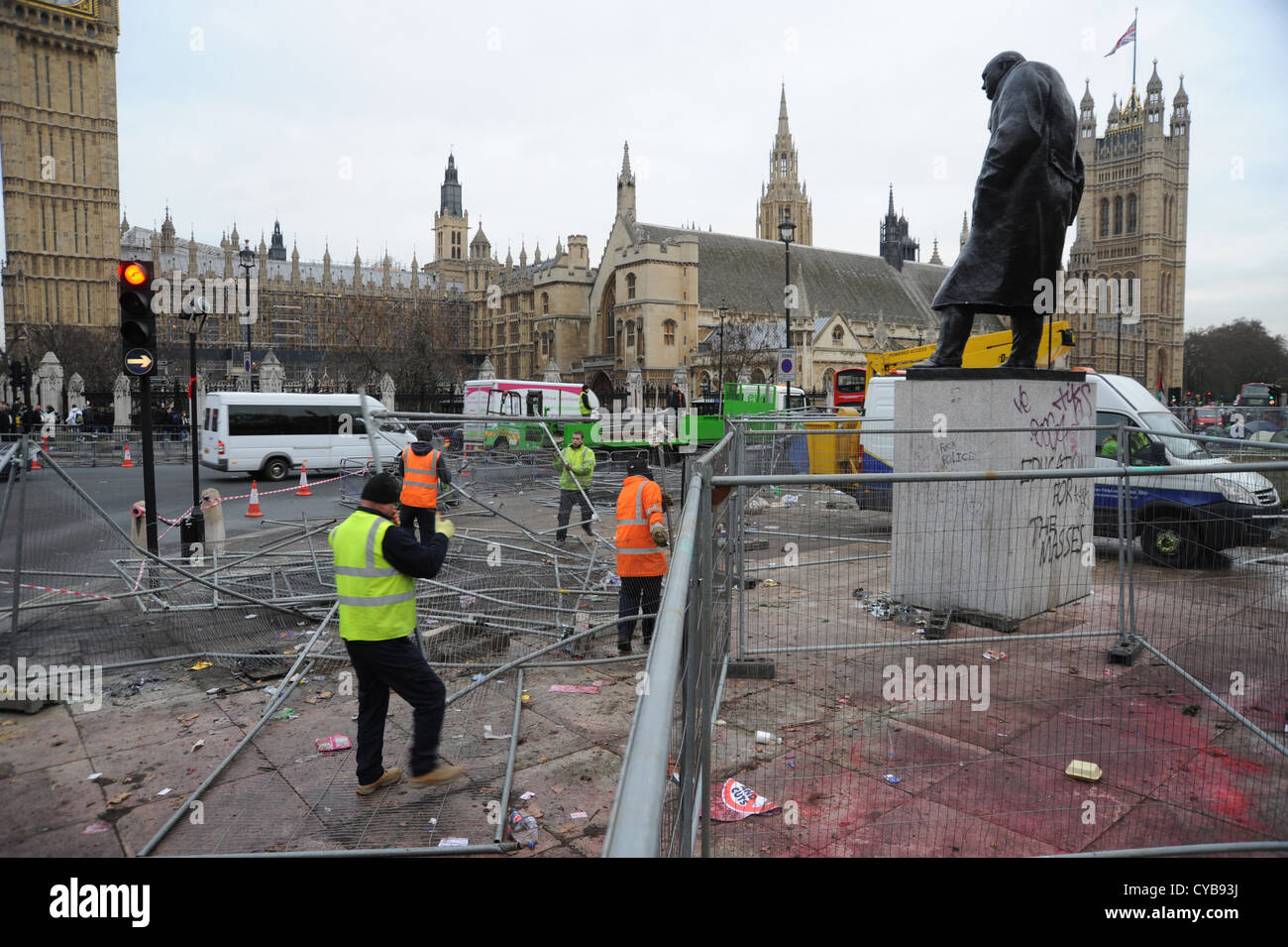Parliament Square after student marches London UK - Stock Image