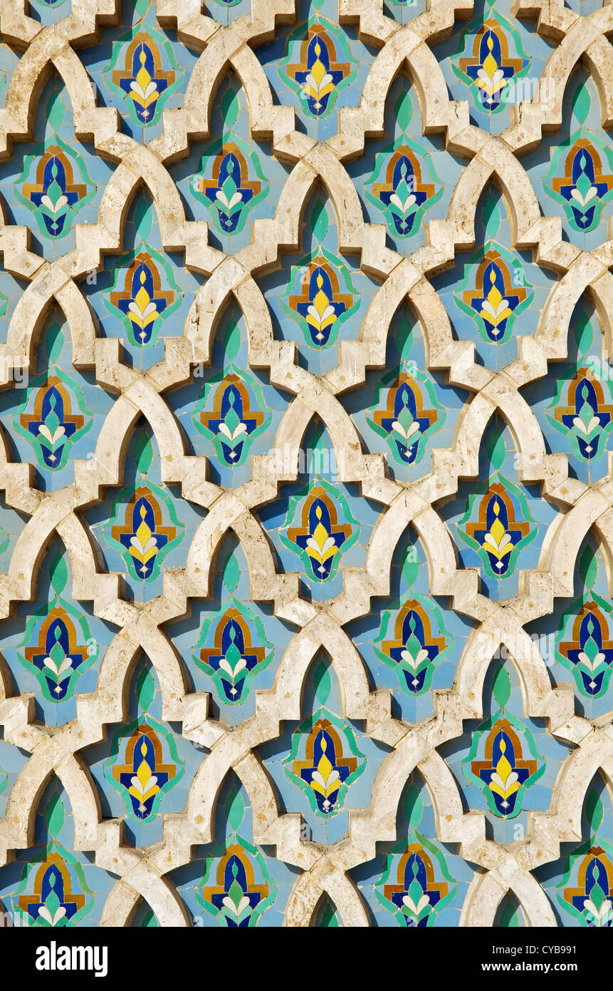 Tiled mosaic pattern on the outside of the King Hassan II Mosque in Casablanca, Morocco - Stock Image