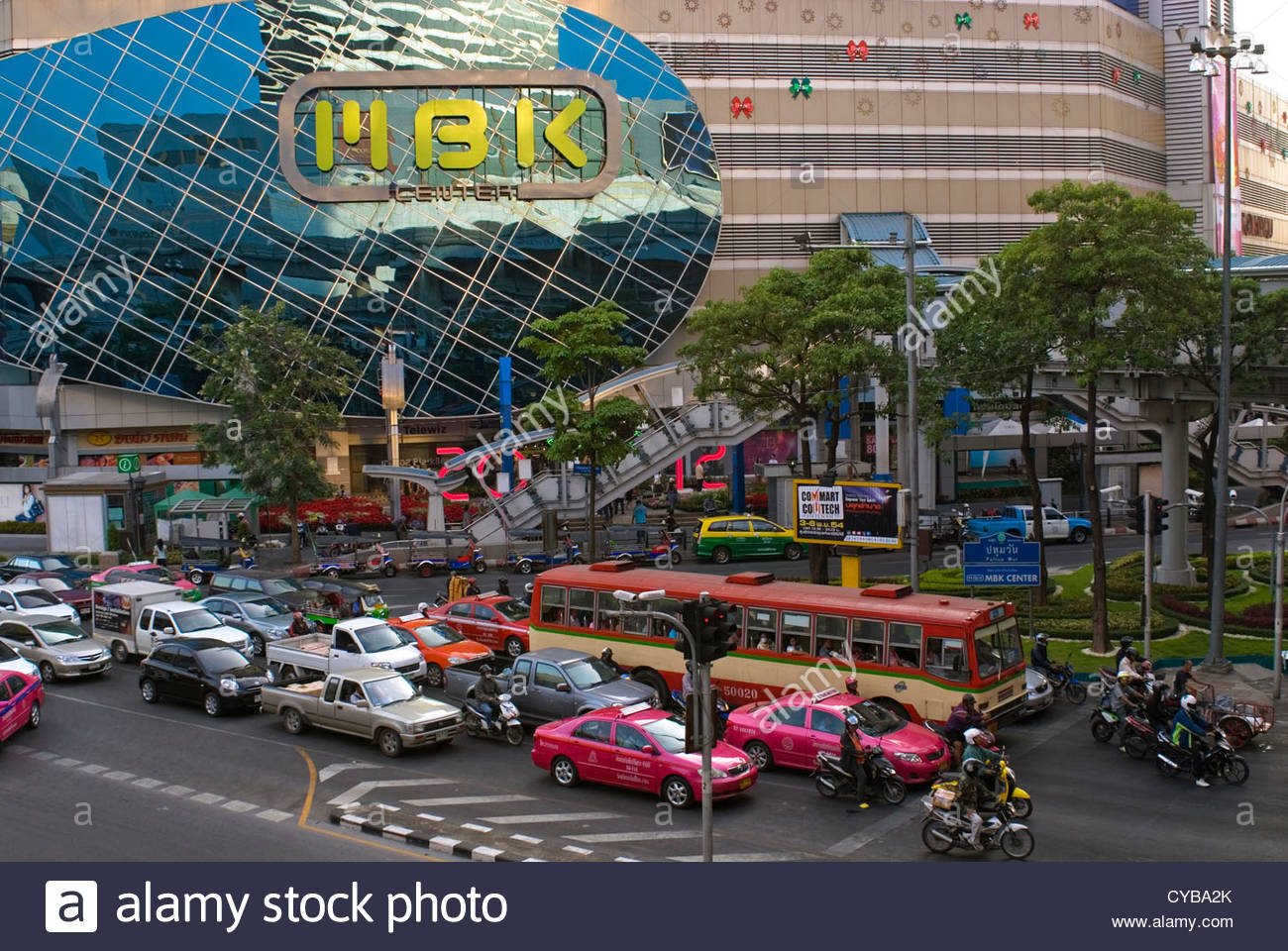Streetscape with traffic jam in the city centre of Bangkok, Thailand - Stock Image