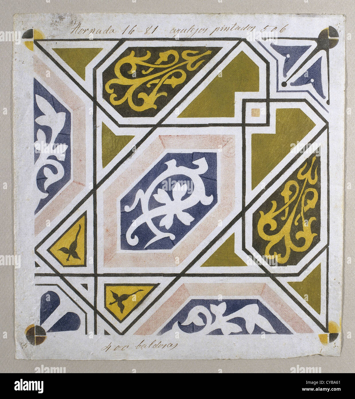 Catalan Modernism. Original desing of tile for the decoration of the Guell Palace. Artist Antoni Gaudi (1852-1926). - Stock Image