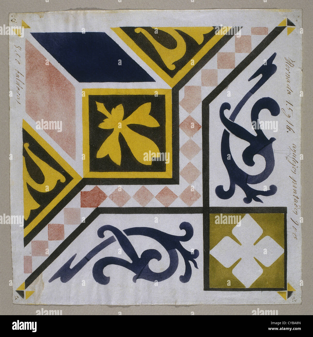 Catalan Modernism. Original desing of tile for the decoration of the fireplace. Guell Palace. Artist Antoni Gaudi - Stock Image