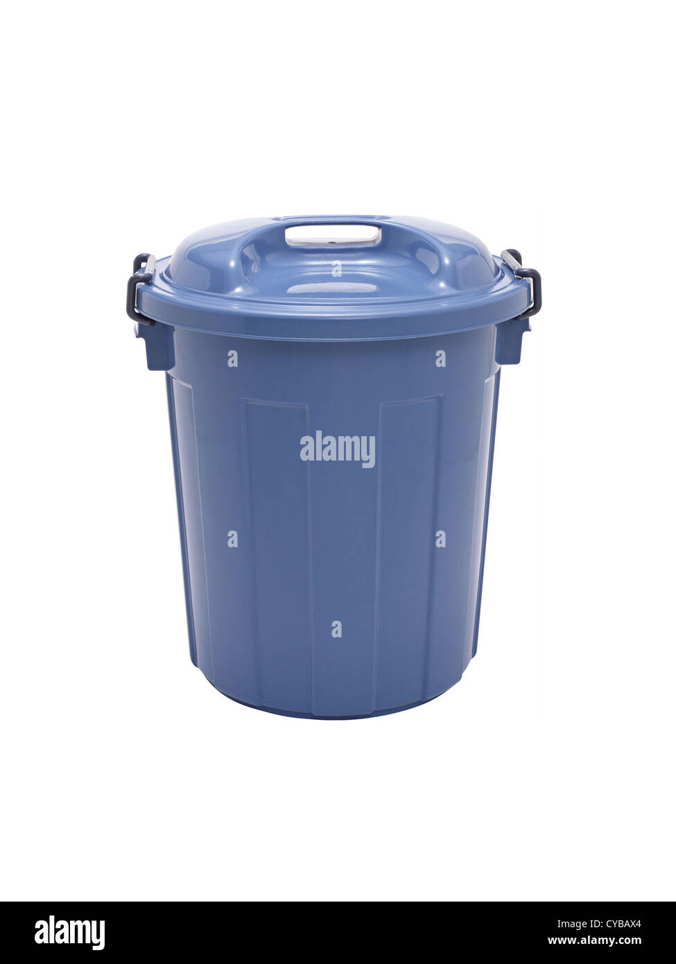 Blue plastic Trash can - Stock Image