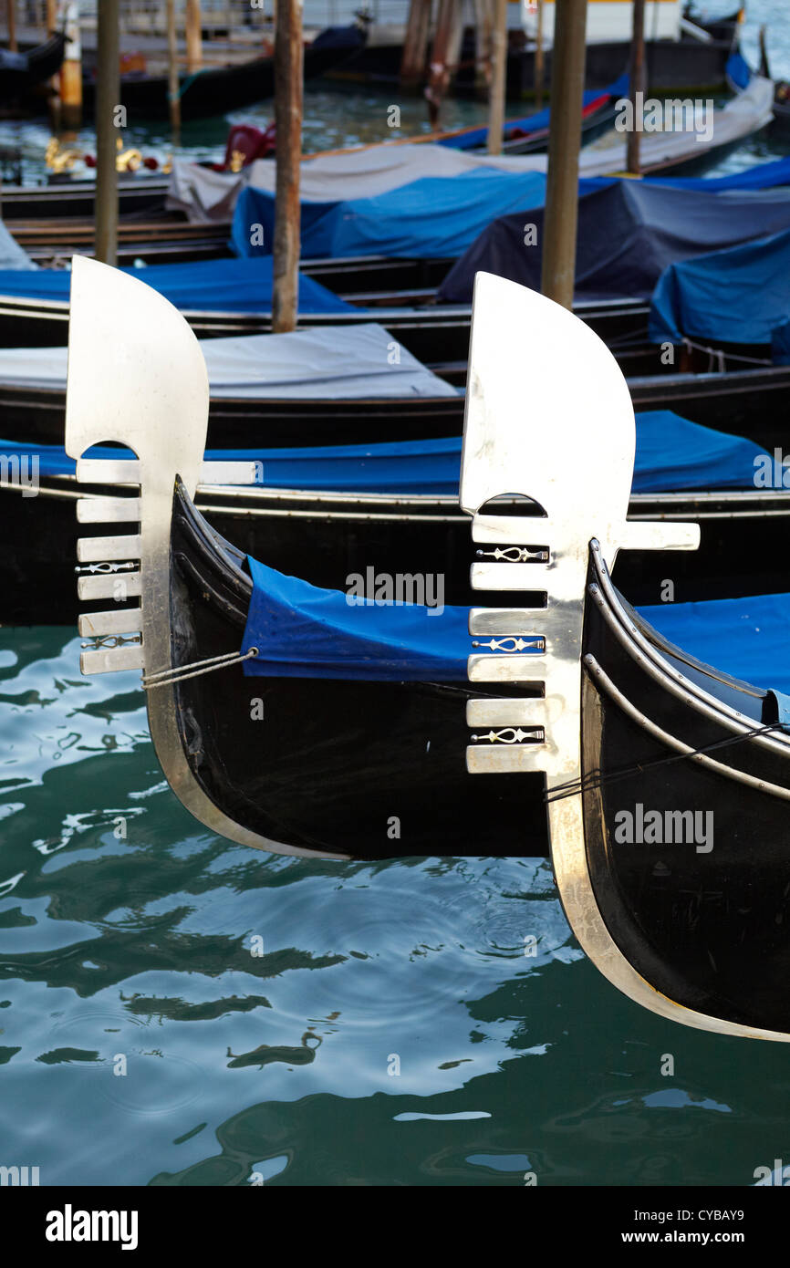 Grand Canal, close detail of symbolic venetian gondola, Venice, Italy, UNESCO - Stock Image