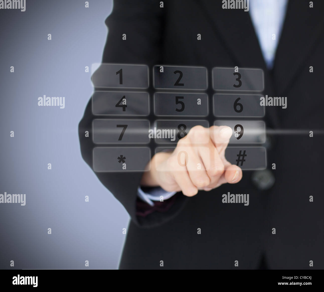 Business woman entering pin on digital number pad Stock Photo