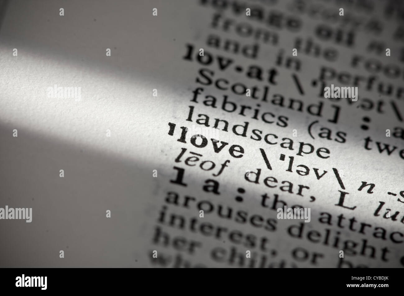 Definition Love Word In English Stock Photos & Definition