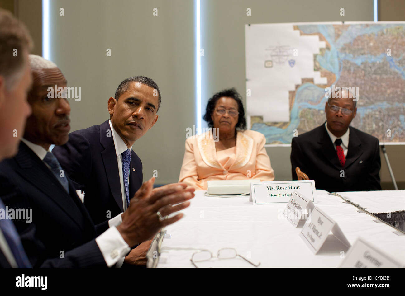 US President Barack Obama listens as Memphis Mayor AC Wharton speaks during a meeting with elected officials and - Stock Image