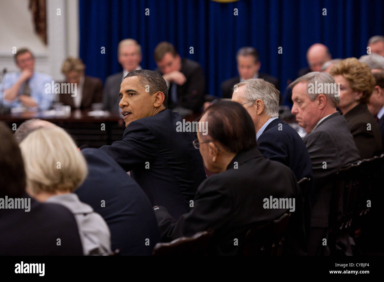 US President Barack Obama meets with the Senate Democratic Caucus in the Eisenhower Executive Office Building May - Stock Image