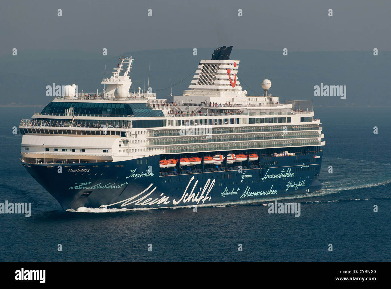 Cruise Liner Mein Schiff 2  sailng in the Dardanelles - Stock Image