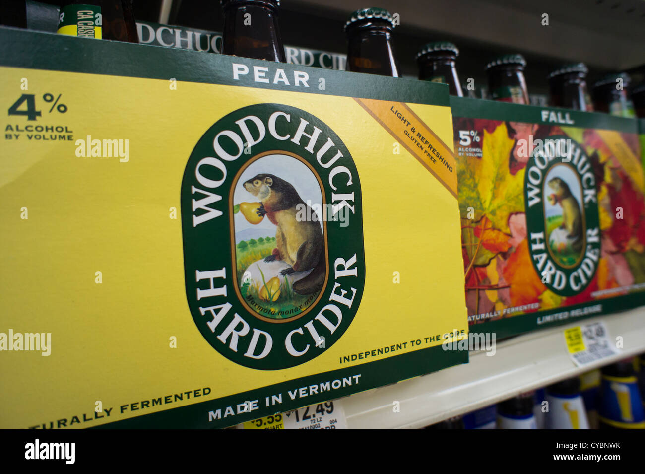 Six-packs of Woodchuck hard Cider are seen on a grocery store shelf in New York - Stock Image