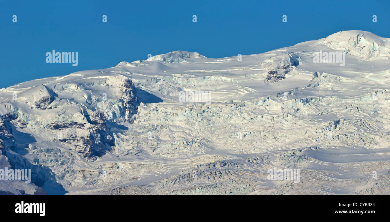 Panoramic photo of glaciers and snow on the massive icecap of Vatnajokull near Jokulsarlon, Iceland - Stock Image