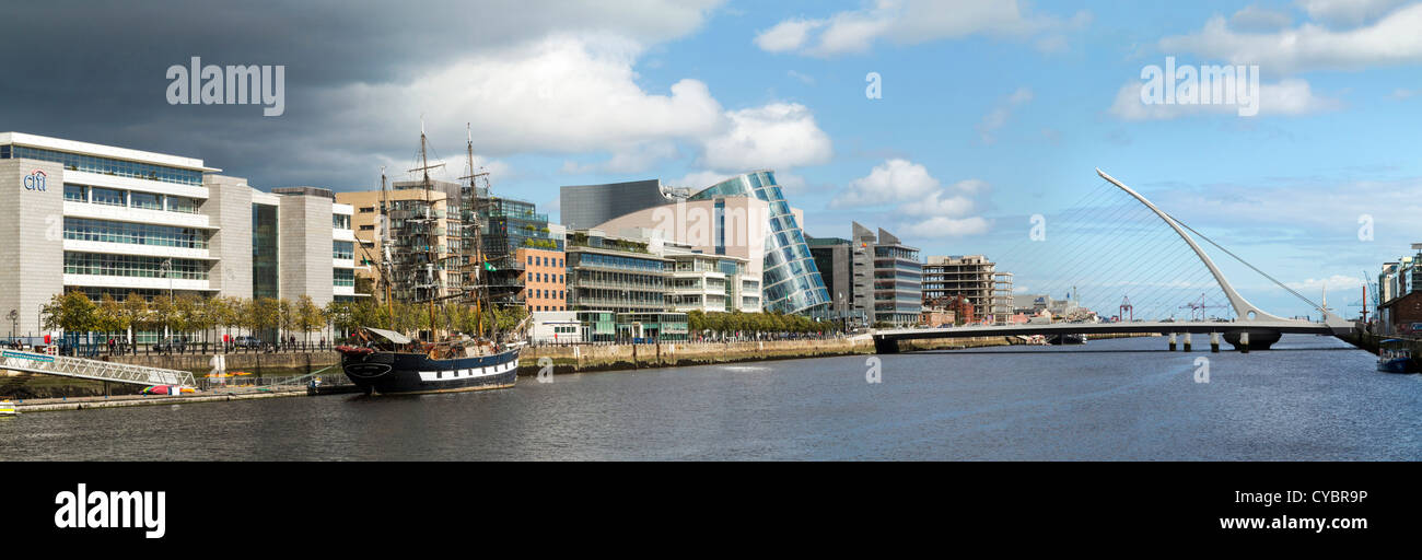 Docklands and river Liffey, Dublin with Samuel Beckett Bridge, National Convention Centre and the Jeanie Johnston - Stock Image