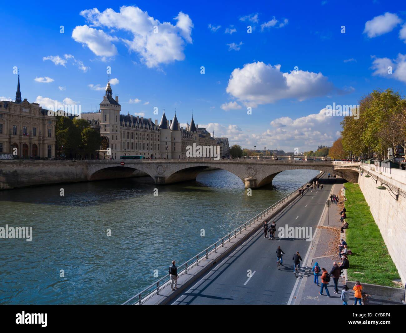Conciergerie, and the Seine River, Paris. - Stock Image