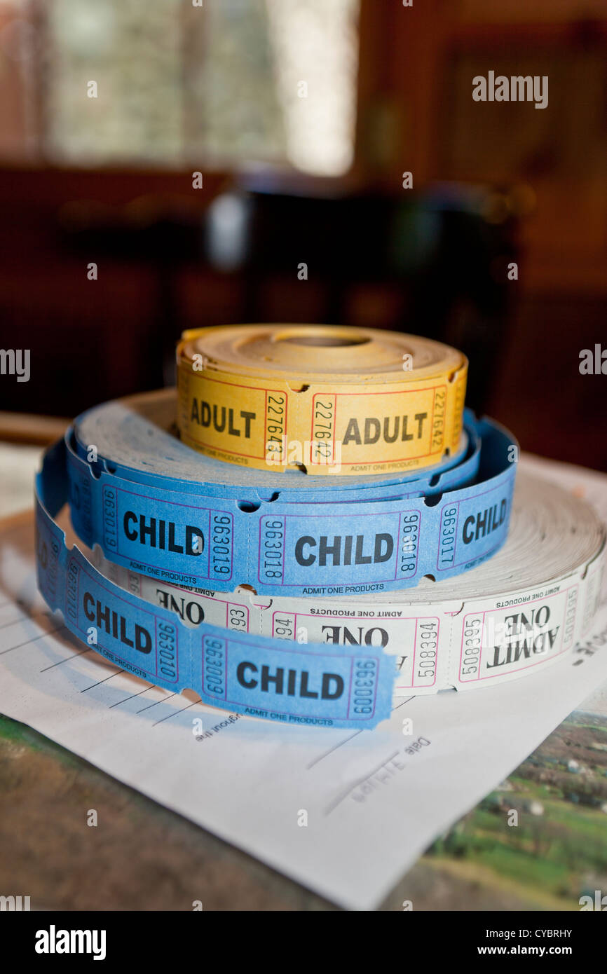 2 rolls of tickets adult and child, - Stock Image
