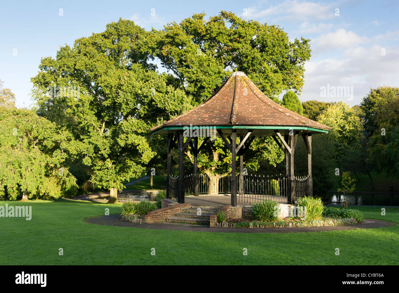 Bandstand in an urban park in Shepton Mallet, Somerset, England, UK - Stock Image