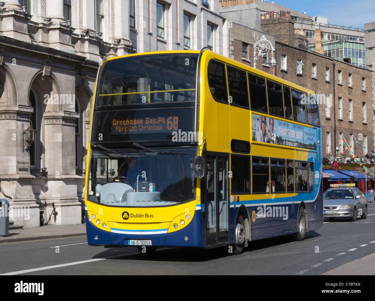 A Dublin Bus, Dublin city centre service on a sunny day Dublin Ireland - Stock Image