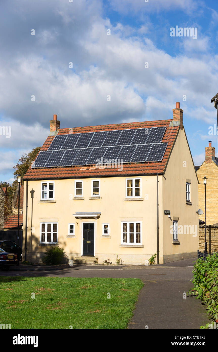 Solar panels on a house, England, UK - Stock Image