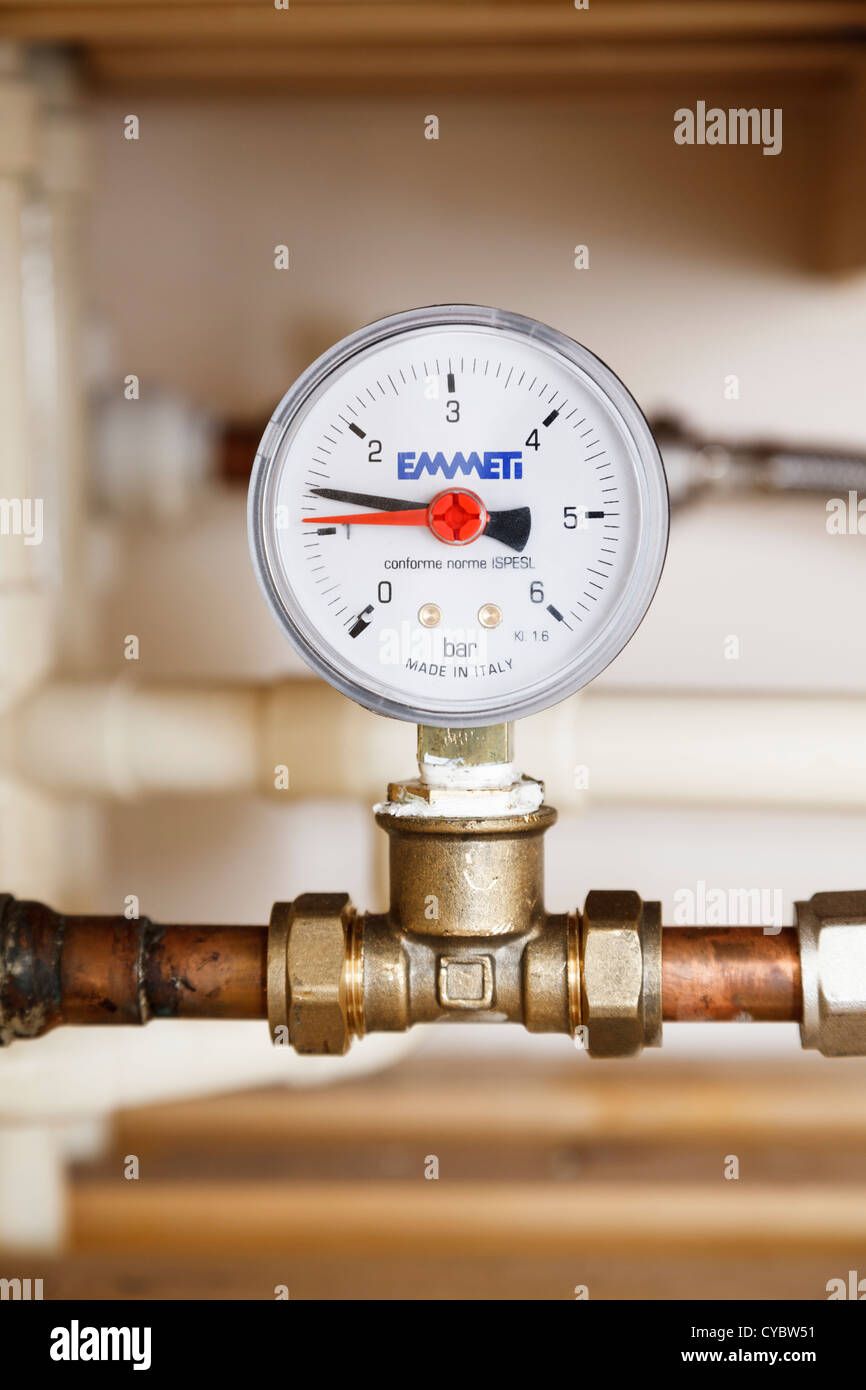 Central heating pressure gauge showing the pressure in the system, UK - Stock Image