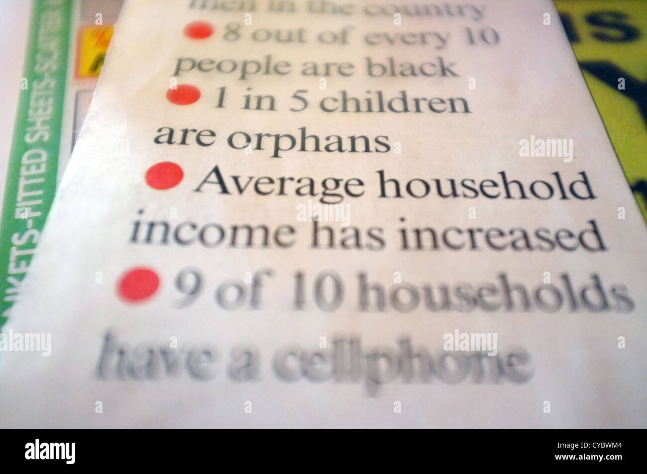 A list of census bullet points about the average household. - Stock Image
