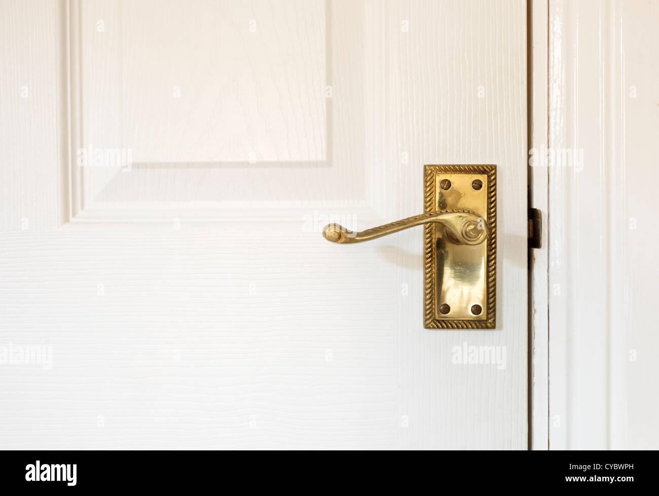 Interior door handle, UK - Stock Image