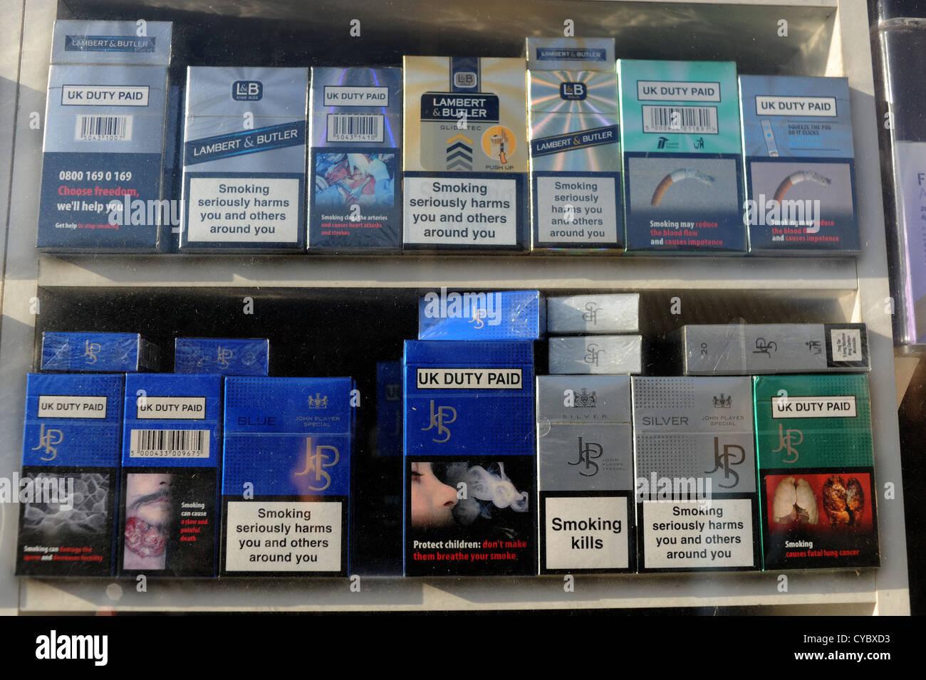 Blackpool Lancashire coast UK- October 2012 Cigarettes on display in shop window - Stock Image