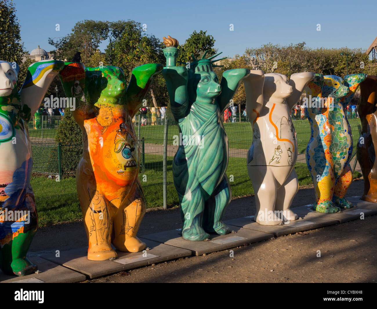 United Buddy Bears in Paris on their global tour. - Stock Image