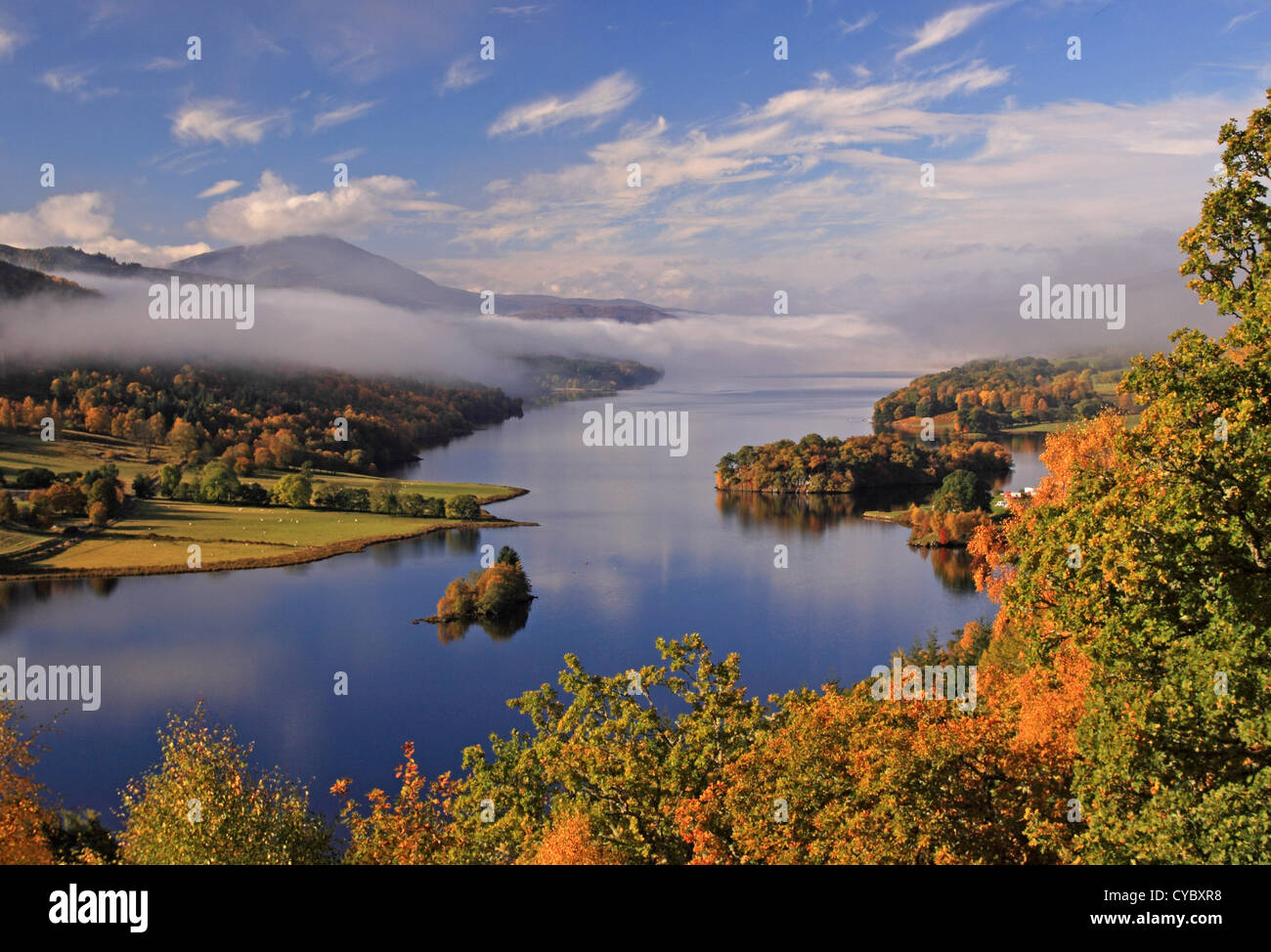 UK Scotland Tayside Perthshire Loch Tummel and mountain of Schiehallion from Queens View - Stock Image