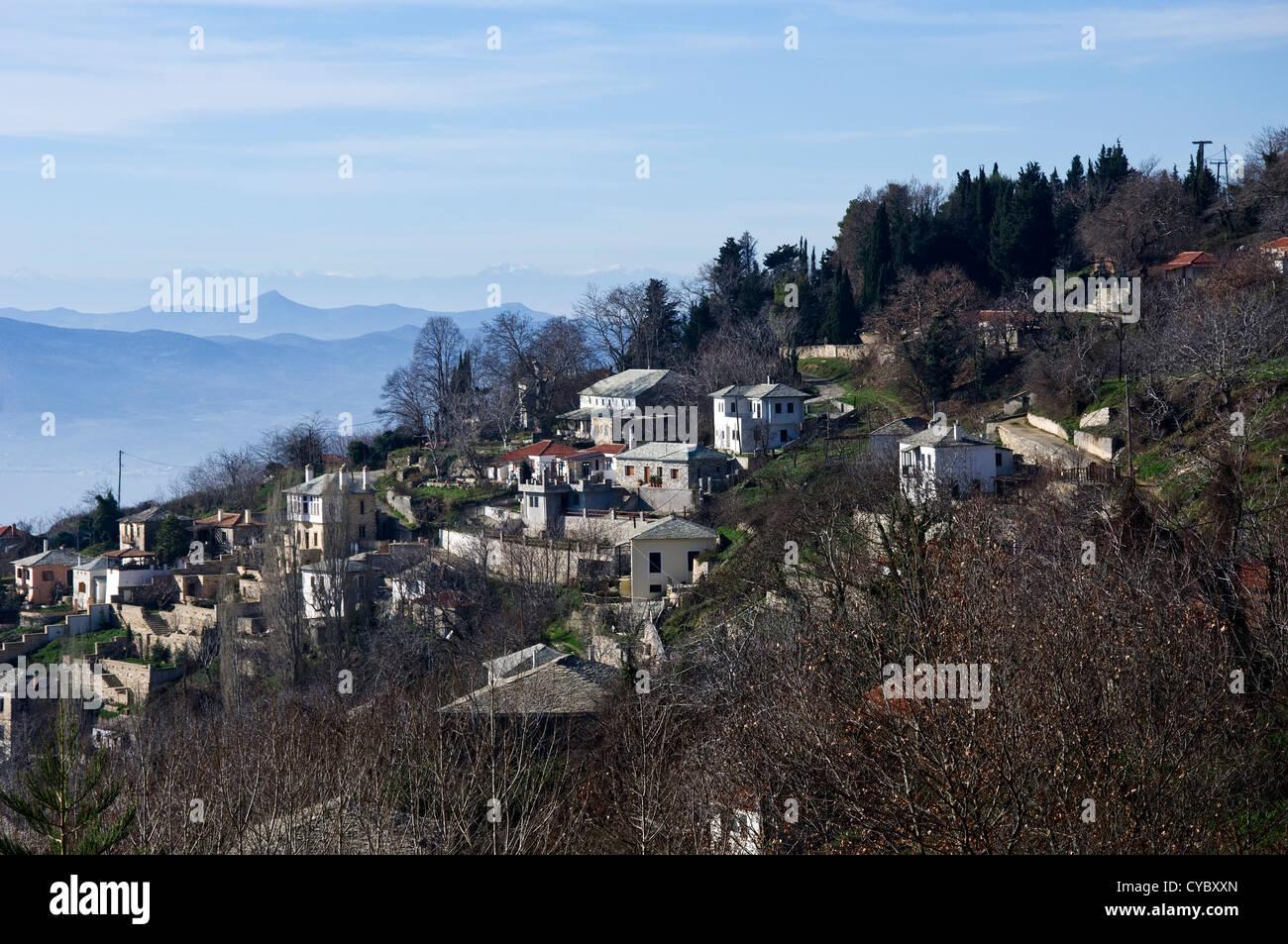 Mountain village Agios Georgios in winter (Pelion Peninsula, Thessaly, Greece) - Stock Image