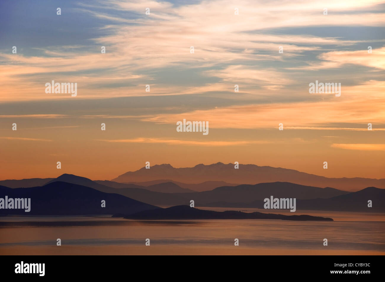 Panoramic view of the Pagasitic Gulf and mainland Greece taken from Pelion Peninsula, Thessaly, Greece Stock Photo