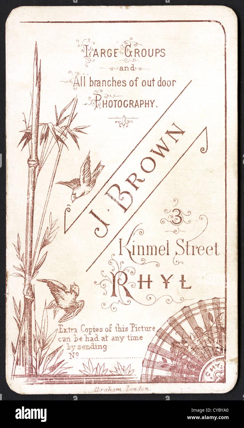 Elaborate Design On Reverse Of Carte De Visite Circa 1880 By Photographer J Brown