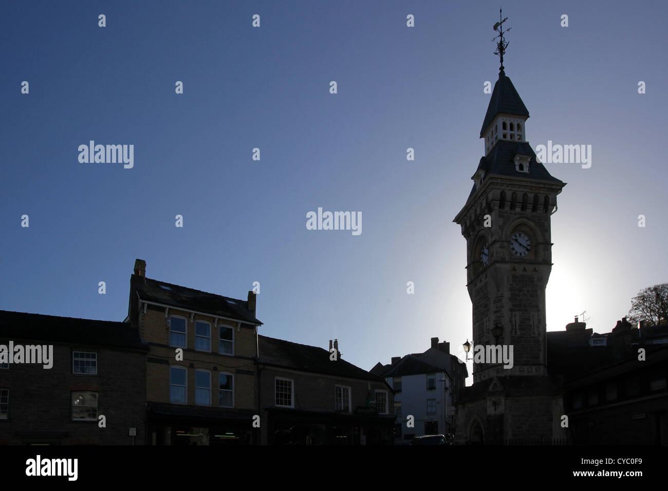 Clock tower, Hay on Wye, Powys, Wales, UK. - Stock Image
