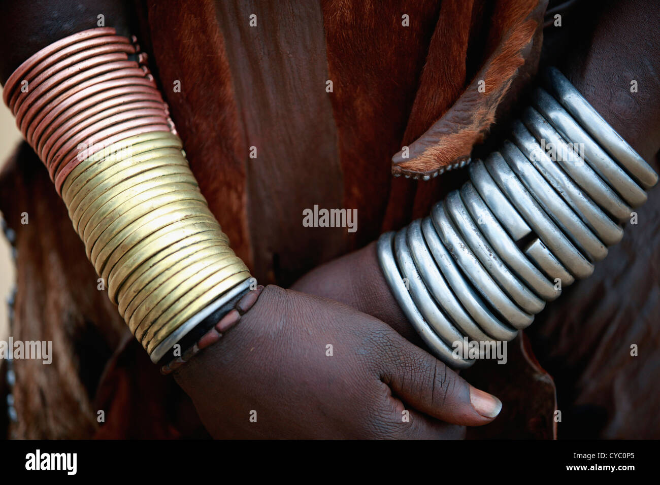 Body adornment of a tribal Hamar woman. - Stock Image