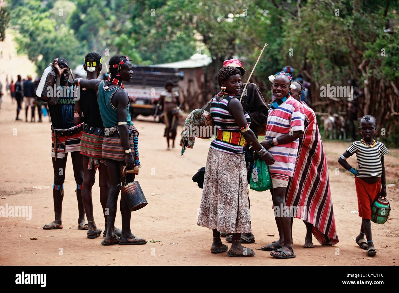 Group of Tribal Banna on their way to a local market. - Stock Image