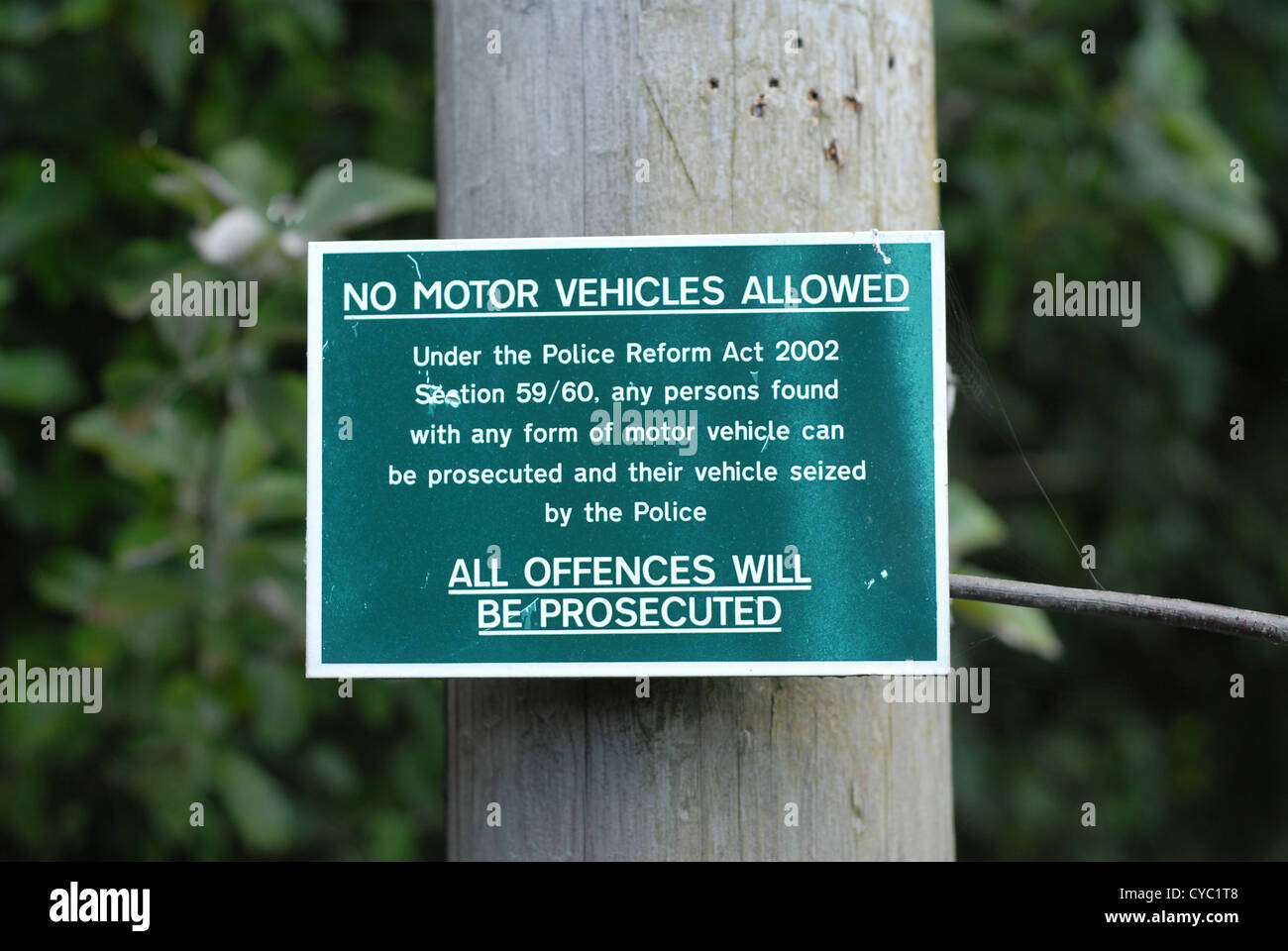 No motor vehicles Public Footpath and Bridleway signage on a walk from towards Bradfield in the Peak District, England, - Stock Image