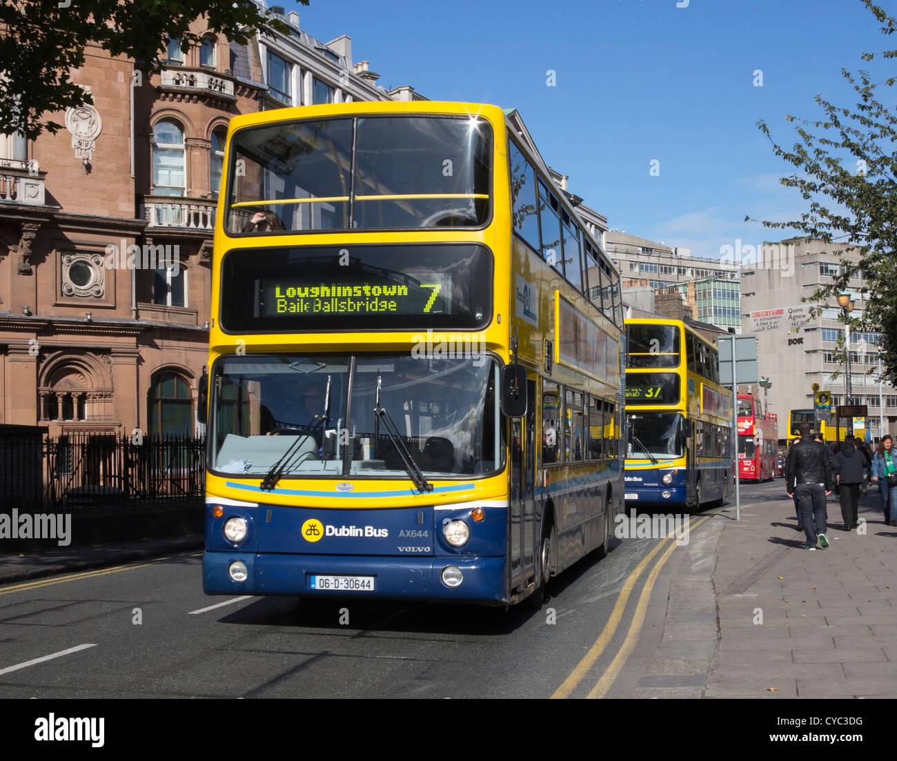 Row of Dublin buses in a city centre street in Dublin, Ireland - Stock Image