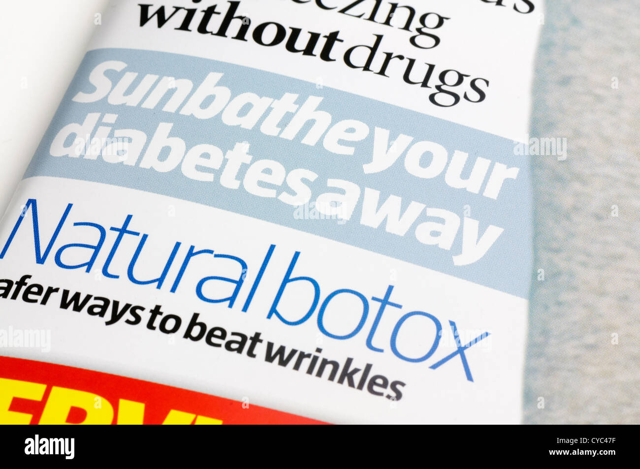 Cure diabetes by sunbathing, and natural botox in 'What Doctors Wont Tell You', a controversial UK magazine - Stock Image